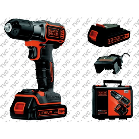 Trapano Avvitatore Autosense Technology 2 Batterie in Valigetta BLACK+DECKER